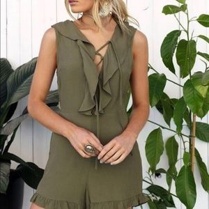 Anthro Lost in Lunar Green Tie It Up Jumpsuit